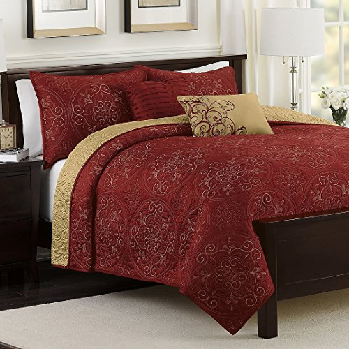 Medallion Claret Reversible Quilt 4 Piece Set