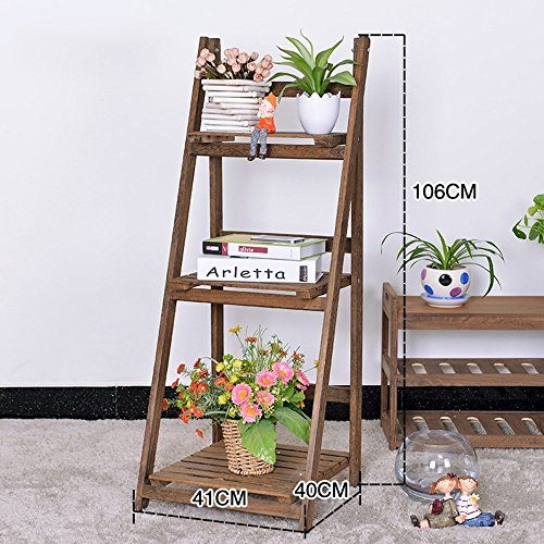 HOMEE Flower Rack Solid Wood Multi - Storey Shelf Simple Garden Interior Folding Flower Pot Rack Creative Floor Type Shelves(Multi-Color Optional) --Home Environment Decorations,1001 by HOMEE