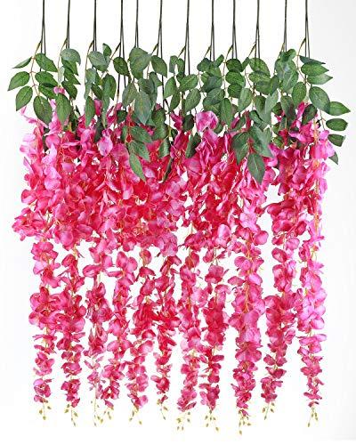 Luyue 3.18 Feet Artificial Silk Wisteria Vine Ratta Silk Hanging Flower Wedding Decor,6 Pieces,(Color-4)