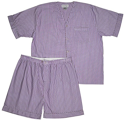 Men's Woven Pajama V-Neck Sleepwear Short Sleeve Shorts and Top Set, Sizes S/4XL -Red Striped - 2X-Large