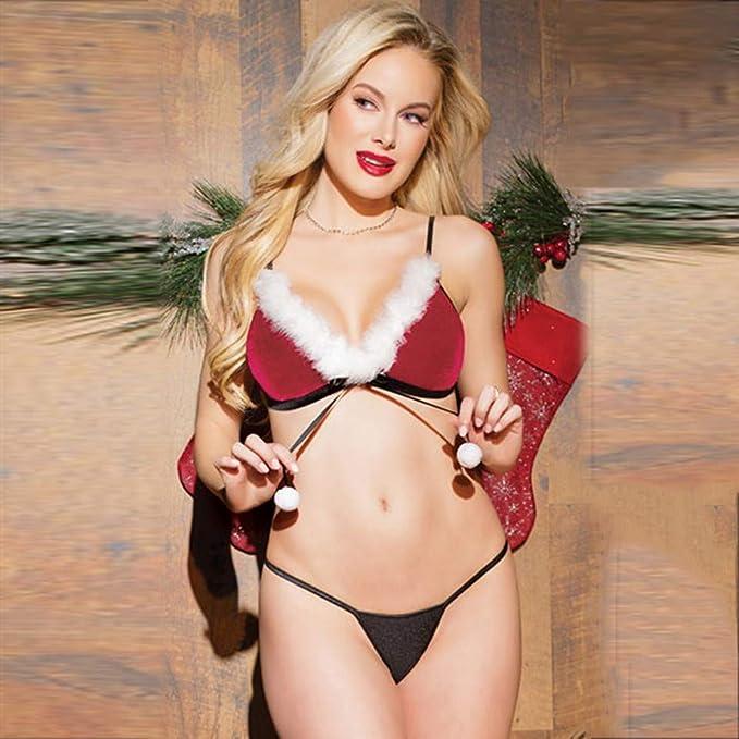 ❤ Conjunto de Bikini de lencería Mujer Navidad, Talla Grande Red Women Sexy Racy Underwear Jumpsuit Suit Temptation Absolute: Amazon.es: Ropa y ...