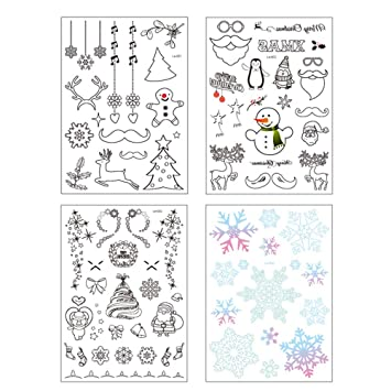 Doodle Weihnachtsfeier.Frcolor 4 Stücke Nacht Glow Temporäre Tätowierung Aufkleber