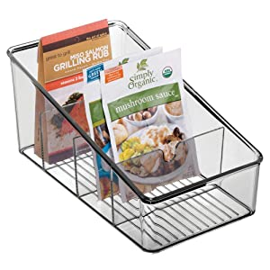 mDesign Plastic Food Packet Organizer Bin Caddy - Storage Station for Kitchen, Pantry, Cabinet, Countertop - Holds Spice Pouches, Dressing Mixes, Hot Chocolate, Tea, Sugar Packets - Smoke Gray