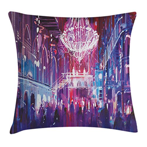 Lunarable Fantasy Throw Pillow Cushion Cover, Opera Opening Elite People Night Club Big Crowd Dancing Having Fun Happy Artwork Print, Decorative Square Accent Pillow Case, 28 X 28 Inches, Blue