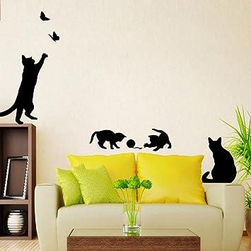 Pegatina de pared Switchali moda nuevo DIY Gatos y Mariposa Desmontable Pegatinas para pared Adhesivo Creativo