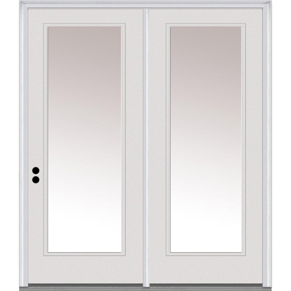 Clear Glass Full Lite 64x80 National Door Company ZZ01585L Fiberglass Smooth Primed Center Hinged Patio Door Left Hand In-Swing