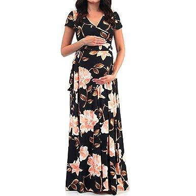 56586a21795 miqiqism Maxi Dresses Maternity Chiffon Floral Print Sexy V Neck Short  Sleeve Wrap Dress Beach Baby