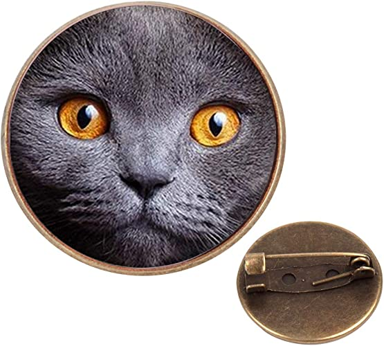 Pinback Buttons Badges Pins Brown Cat Face Lapel Pin Brooch Clip Trendy Accessory Jacket T-Shirt Bag Hat Shoe