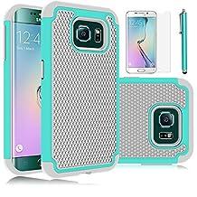 Galaxy S6 Edge Case, EC™ Hybrid Armor [Drop Protection] [Shock-Absorption] [Impact Resistant] Case- Dual Layer Armor Protective Case Cover for Galaxy S6 Edge G925 (Emerald/Gray)