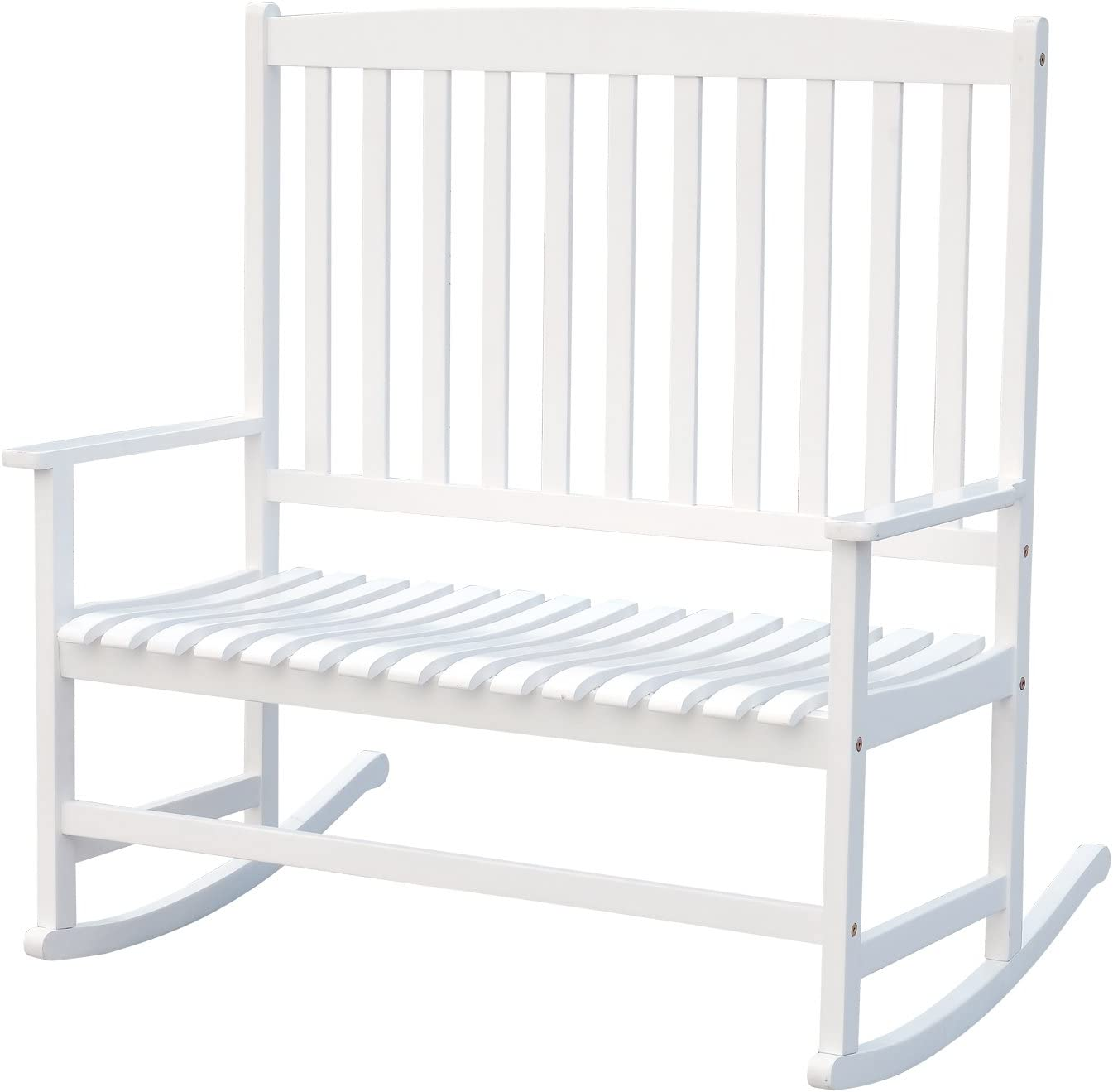 Outsunny 46 2-Person Acacia Wood Outdoor Porch Rocking Chair with Armrest – White
