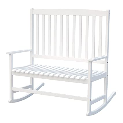 Strange Outsunny 46 2 Person Acacia Wood Outdoor Porch Rocking Chair With Armrest White Creativecarmelina Interior Chair Design Creativecarmelinacom