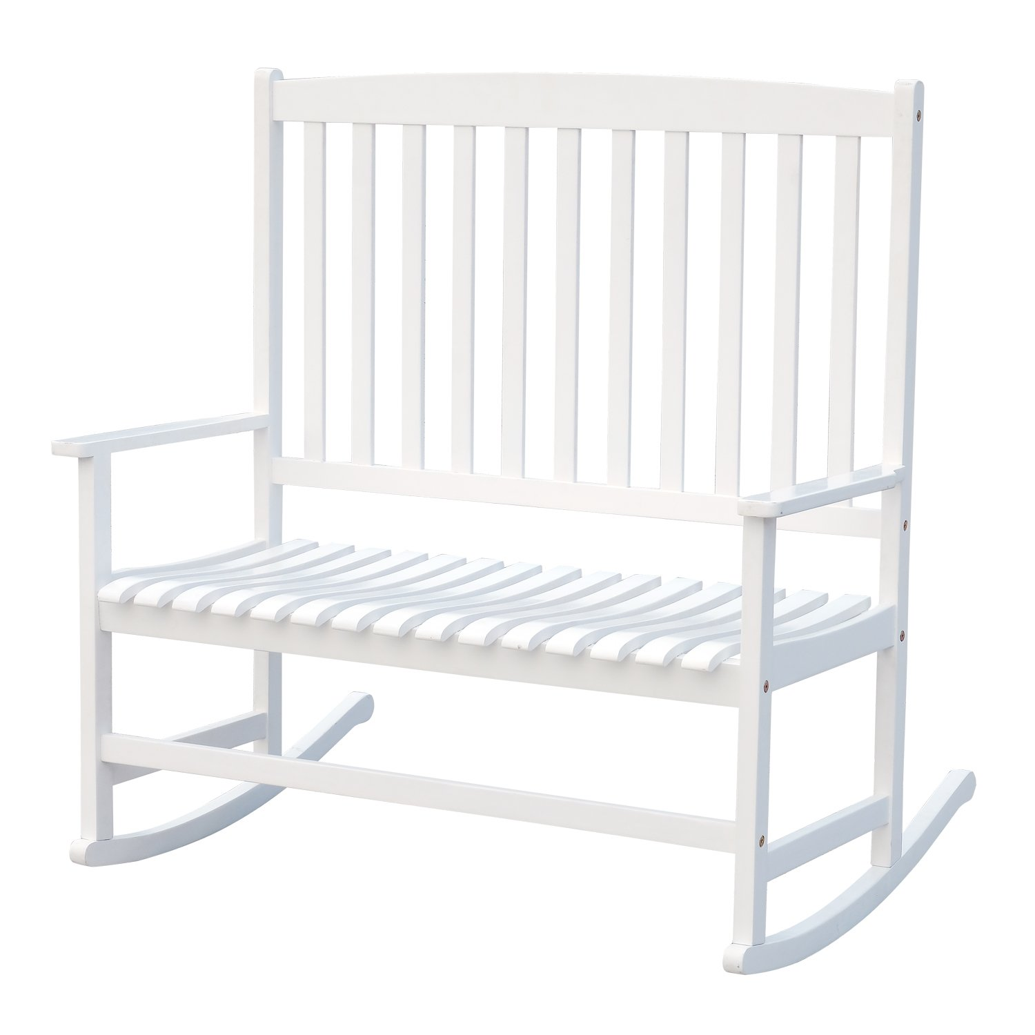Outsunny 46'' 2-Person Acacia Wood Outdoor Porch Rocking Chair with Armrest - White