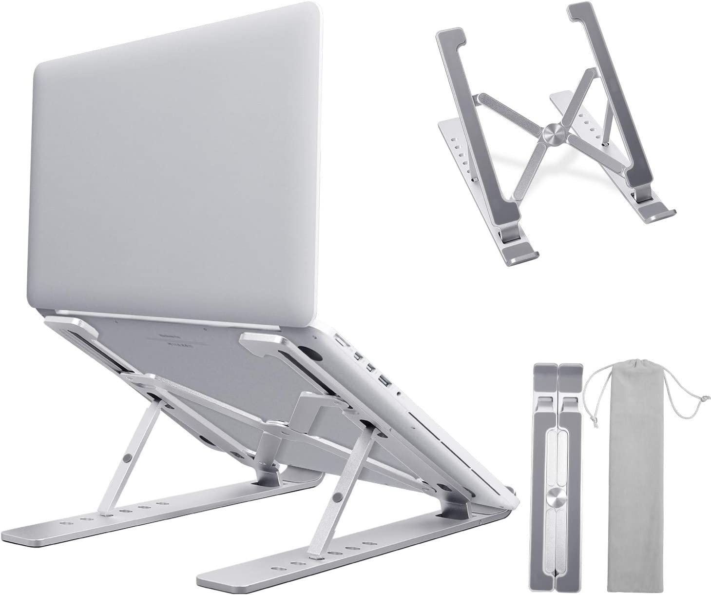 "Laptop Stand, LEYOSOV Portable Foldable Tablet Stand, Aluminum 6 Angles Adjustable Notebook Stand, Ergonomic, Lightweight and Sturdy, Compatible for MacBook Air Pro, Dell, More 10-17"" Laptops"