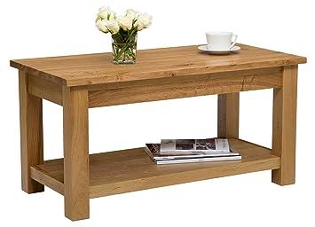 76d4e7ac3e2f Hallowood Waverly Large Coffee Table with Shelf in Light Oak Finish 90cm