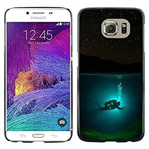 LECELL--Funda protectora / Cubierta / Piel For Samsung Galaxy S6 SM-G920 -- Diver Diving Underwater Tank Night --