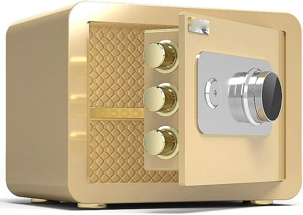 金庫-SMM 小さな家庭用金庫、スチール製の防火金庫、ホテルの安全な収納ボックス、オフィスの現金ロッカー、2サイズ、ゴールド (Size : L)