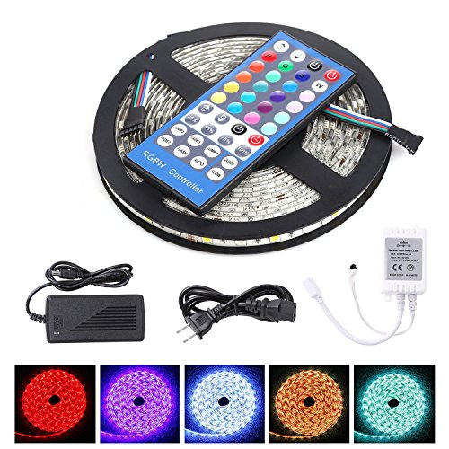 LED Strip Light 16.4ft 300LEDs RGBW LED Light Strip 5050SMD with IR Remote and Power Supply for Home Decor