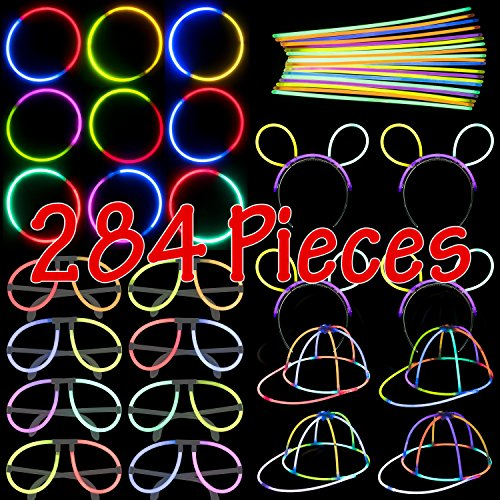 Glow Stick Party Set - 284 Pieces - Includes Connectors to Create Necklaces, Bracelets, Glasses, Caps and Headbands - Glow in the Dark Party Favors - Dragon Too -