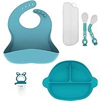 Maginflo plato para bebe adherible silicona, babero de silicona bebe, cucharas para bebé, chupon para fruta de bebé, son un excelente regalo para un babyshower(Azul)