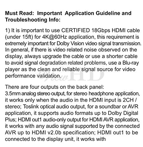 ViewHD UHD 18G HDMI Audio Extractor/Splitter Support HDMI v2.0   HDCP v2.2   4K@60Hz   HDR   ARC   3.5MM Analog Audio Output   Toslink Optical Audio Output   HDMI Audio Output   Model: VHD-UHAE2 by ViewHD (Image #2)