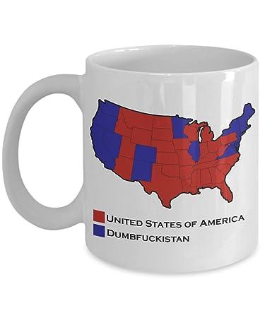 Amazoncom Dumbfuckistan Oz US Map Election Mug Home  Kitchen - Tee shirt us map dumbfuckistan