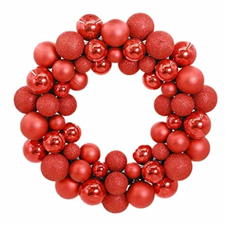 arcci 16 inch christmas ball wreath 56 shatterproof ornaments front door window hanging christmas decorations - Christmas Ball Wreath