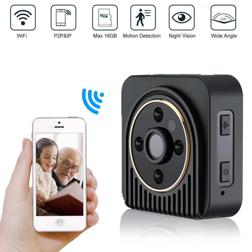 720P HD WIFI Security Camera, 150 Degree Wide Angle IP Network Nanny Camera Baby Monitor Pet Video Recorder Car DVR w/16G TF Card, Support Infrared Night Vision and Motion Detection