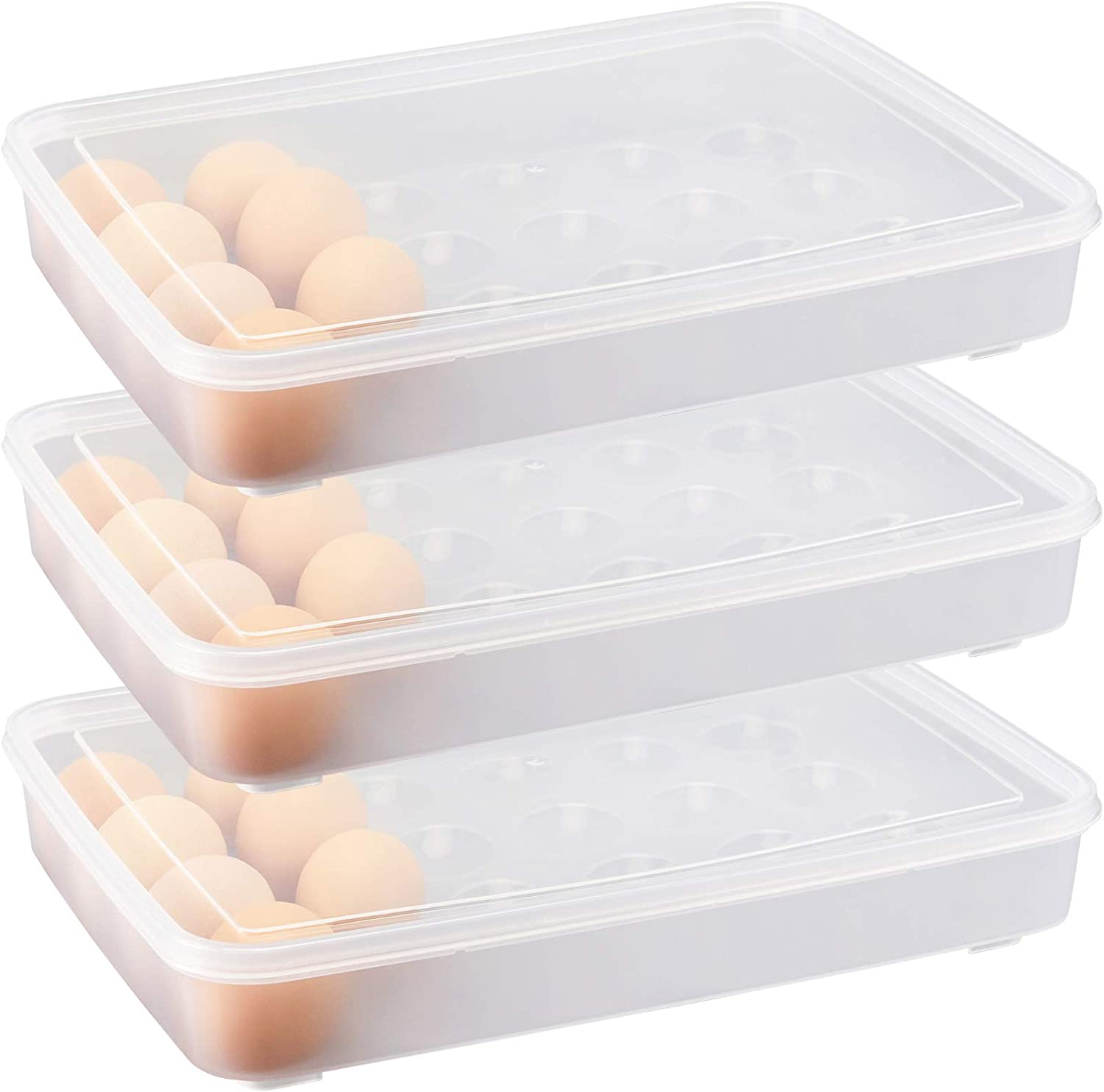 HOZEON 3 PCS Plastic Egg Holder for Refrigerator with Lid, 12.4 x 9.25 x 1.8 Inches Clear Stackable Egg Tray for Fridge, Egg Storage Container for Fruit, Refrigerator, Food, Camping, Picnic