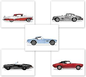 Classic Car Wall Art - Set of 5 Prints // Game Room Decor // Boy Bedroom Posters // Transportation Car Nursery // Birthday Party Decoration // Vintage (8x10, Set 5)