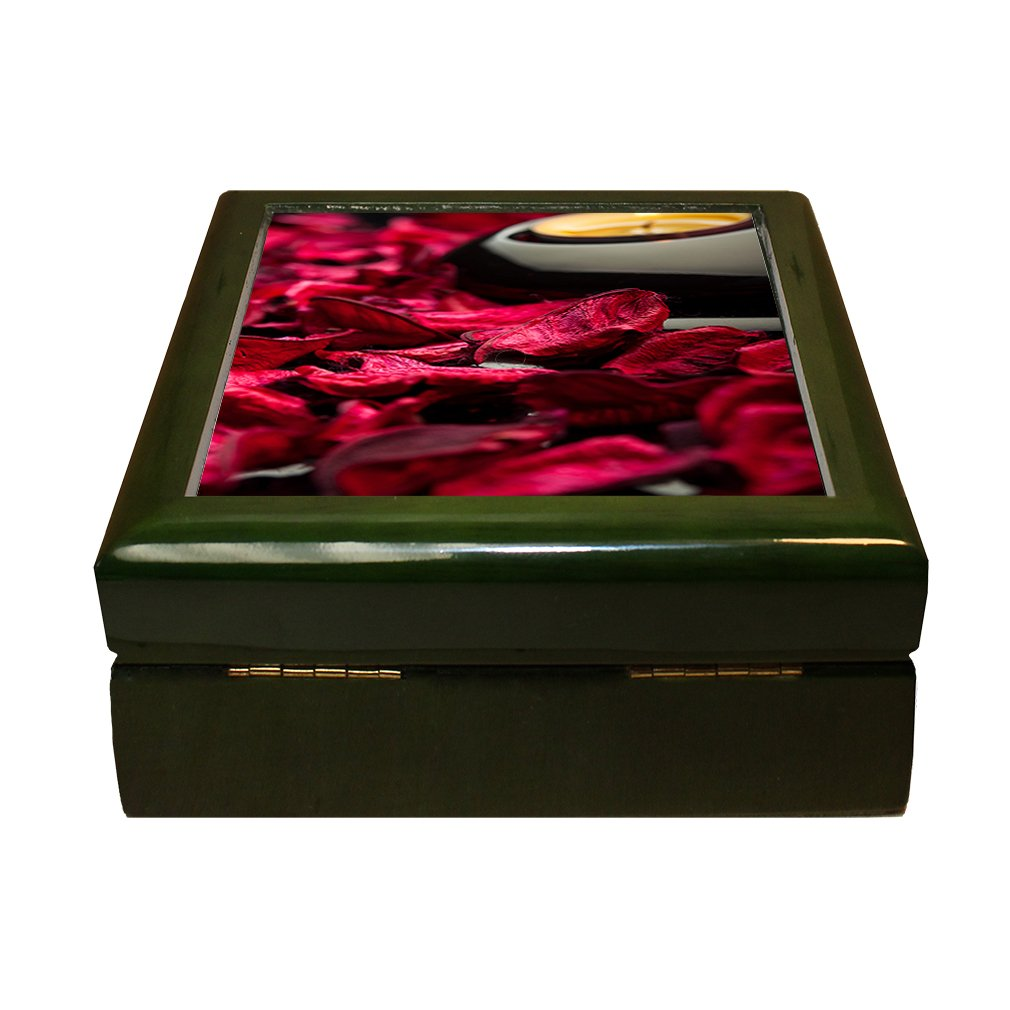 Spa Background Petals Stones And Candle 4''x4'' Jewelry Box Ceramic Tile Green Frame