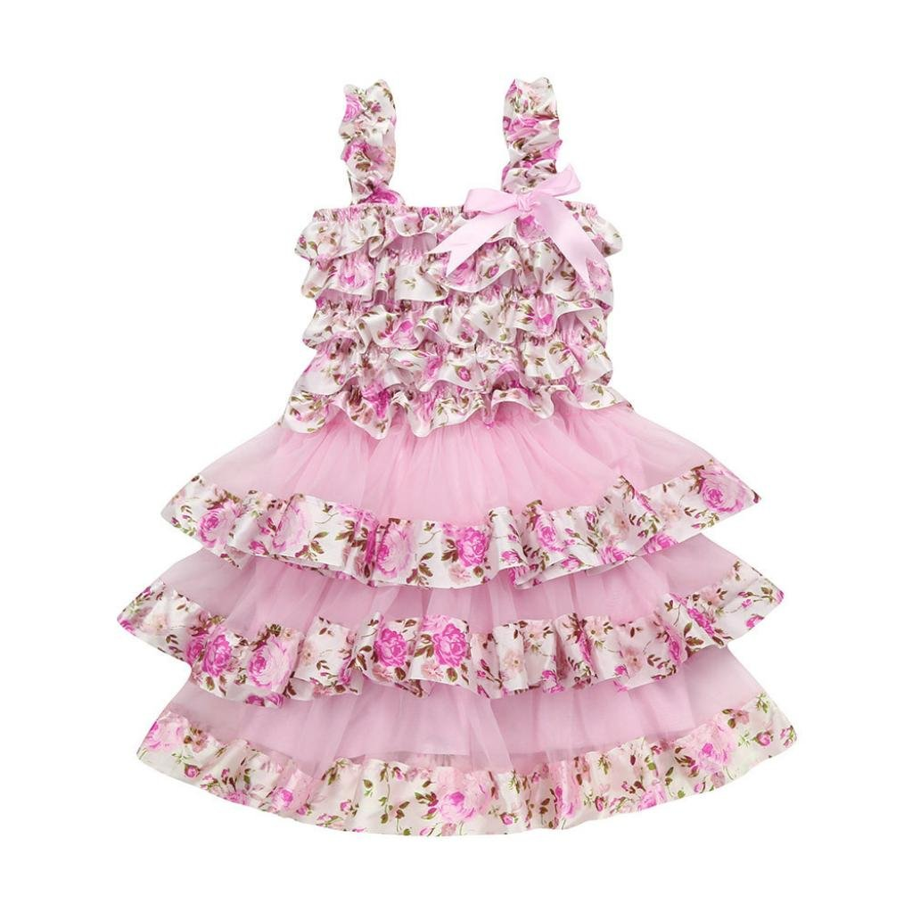 Vincent& July Summer Girls Pink Lace Gauze Floral Braces Layered Cake Princess Dress