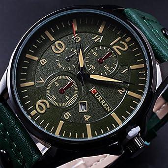 Curren 8164 hombre FECHA PU cuero banda cuarzo analógico: Amazon.es: Relojes