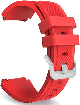 Gear S3 Frontier/Classic Watch Band, Soft Silicone Replacement Sport Strap for Samsung Gear S3 Frontier / S3 Classic/Moto 360 2nd Gen 46mm Smart Watch, RED