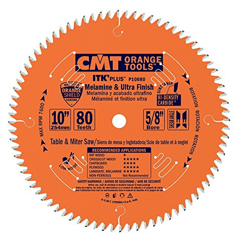 "CMT P10080 5/8"" Bore ITK Melamine & Ultra Finish Saw Blade, 10"" x 80 Teeth"
