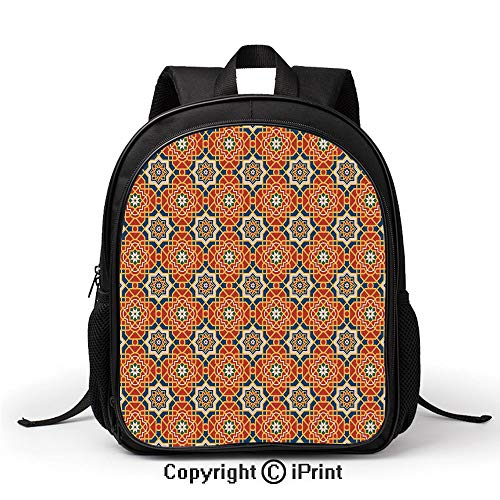 Leisure Theft Prevention School Bag Arabesque Islamic Geometric Oriental Ethnic Patterns and Motifs with Vintage Artful Backpack :Suitable for Men and Women,School,Travel,Daily use,etc,Multicolor