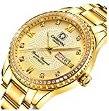 CARNIVAL Mens diamond Dial Automatic Machine Gold Stainless Steel Sapphire Glass Waterproof Men's Watch