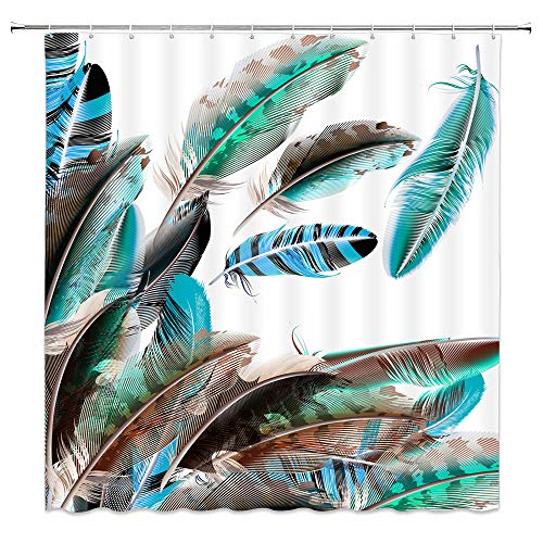 Colorful Feather Decor Shower Curtain Green Blue Black Brown Animal Feathers White Background,70x70 Inches Waterproof Polyester Fabric Bathroom Accessories Curtains with Hooks (Curtain White Shower Green Blue)