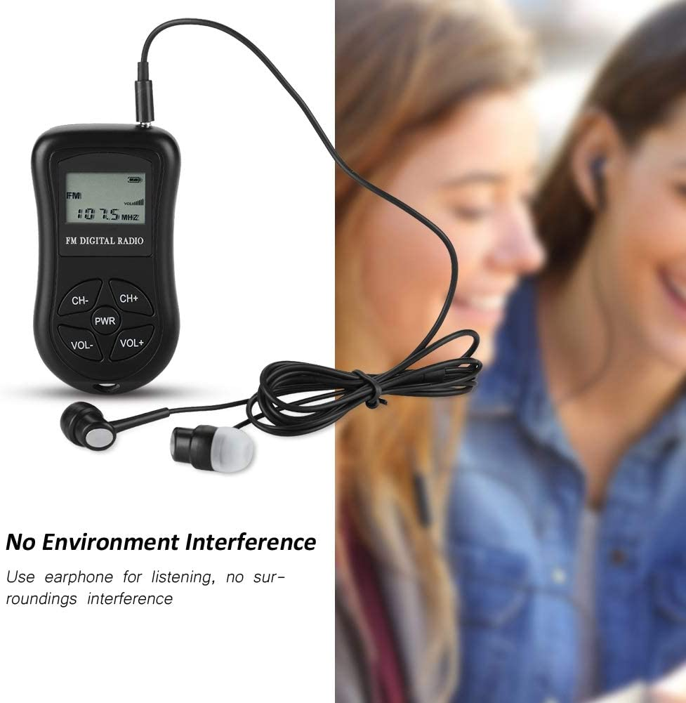 Clear LCD Display Black Small Portable Radio Continuous Use for 50-60 Hours Compact Button Tosuny LCD Radio with Earphones Lanyard