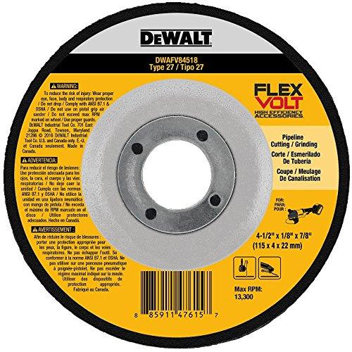 DEWALT DWAFV84518 FLEXVOLT T27 Cutting/Grinding Wheel, 4-1/2' x 1/8' x 7/8' 4-1/2 x 1/8 x 7/8
