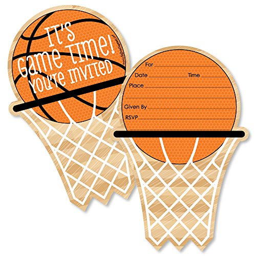 Nothin' But Net - Basketball - Shaped Fill-in Invitations - Baby Shower or Birthday Party Invitation Cards with Envelopes - Set of 12]()