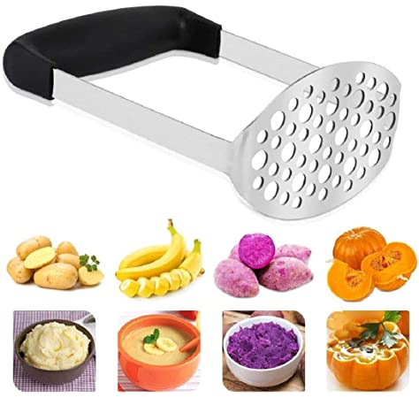 Large Round Press Plate Vegetables and Fruits with Hanging Loop Foldable Potato Ricers JOYIT Stainless Steel Potato Masher Hand Masher Press Ricer for Smooth Mashed Potatoes