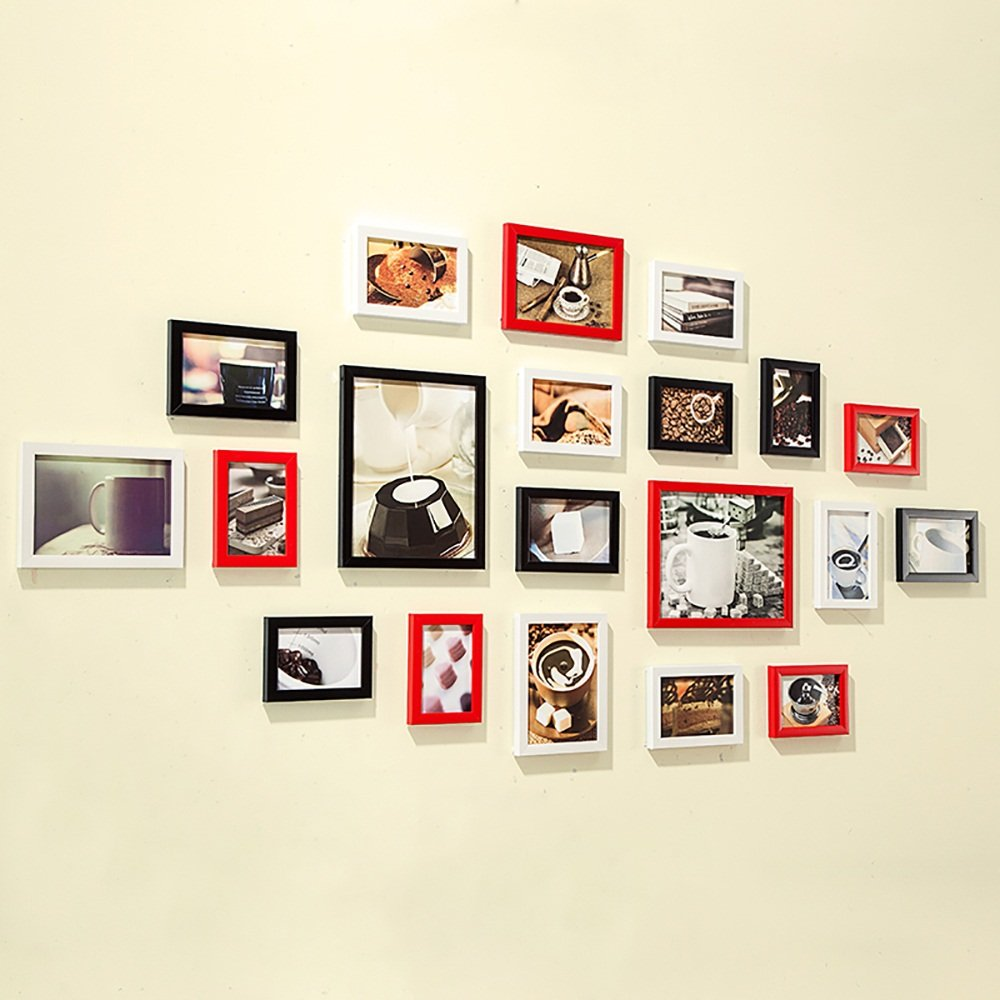 Collage picture frame wall photo frames Photo Wall, European Style Hanging Modern Living Room Creative Portfolio Photo Wall (20) (Color : Black+white+red)