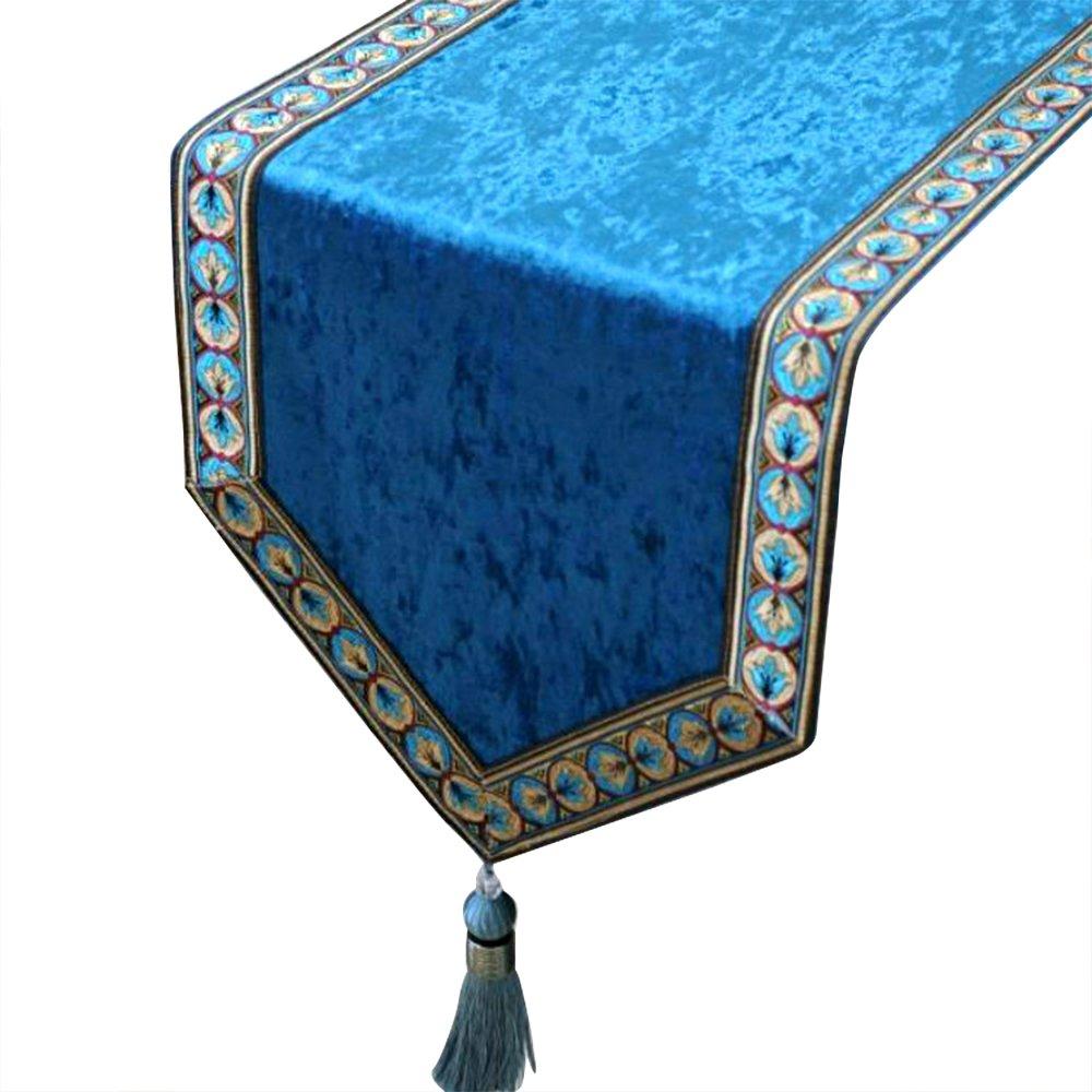 Camino de mesa de terciopelo con borlas azules de lujo, 33 x 180 cm Tong Yue