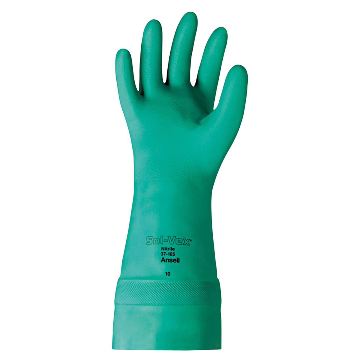 Ansell 37-165-10 Sol-Vex Nitrile Gloves, Straight Cuff, Unlined Lined, Size 10, 15'', Green (Pack of 12)