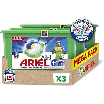 Ariel Allin1 Pods Active - Detergente en cápsulas para la lavadora, adecuado para eliminar los malos olores, 129 lavados/unidades (3 x 43)