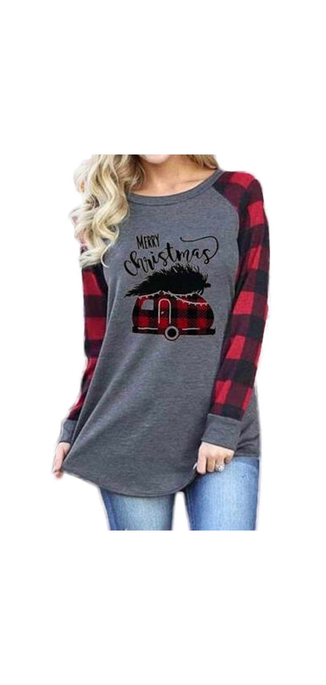 Merry Christmas Shirt Christmas Truck Tree Long Sleeve Raglan