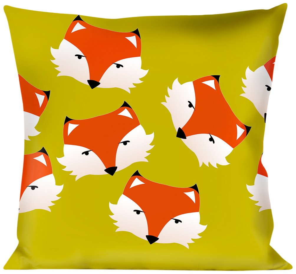 Multicolor Buckle Down Fox Face Scattered Warm Olive Throw Pillow