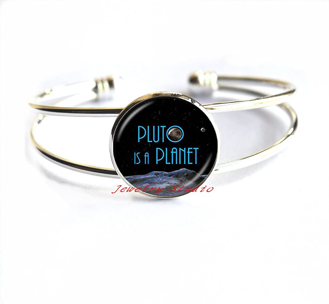 Charming Bracelet,Pluto Planet Bracelets Galaxy Bracelet Space Jewelry Pluto Is A Planet Quote Jewelry Universe Astronomy Geek for Astronomer,T0019