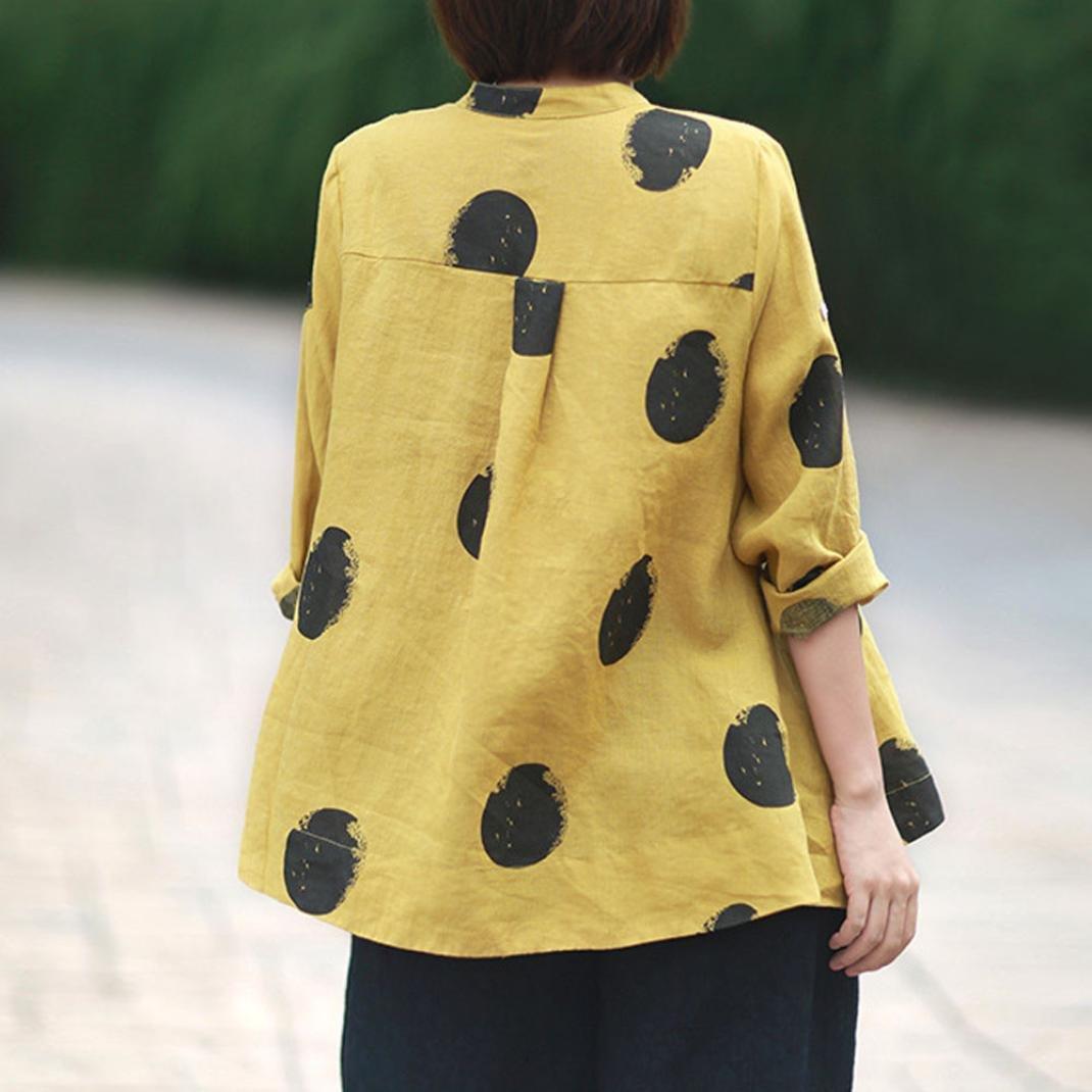 Camisa de Tallas Grandes para Mujeres Manga Larga Botón de ...
