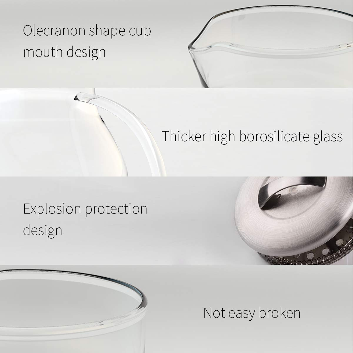 Morpilot 1800ml Glass Teapot with Removable Infuser Glass Carafe, Stovetop Safe Tea Kettle,Water Tank Heat Resistant Borosilicate for Tea,Coffee,Juice,and Water